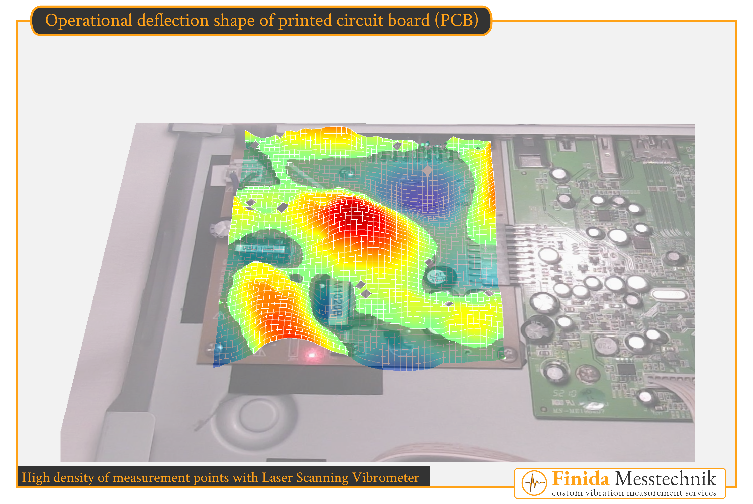 Scanning Vibrometers detect and visualize surface vibrations optically – that means without contacting the structure. No mass-loading occurs. The result of an operating deflection shape analysis of a printed circuit board (PCB) is shown on this picture. Finida Messtechnik offers custom vibration measurement services like operational deflection shape analysis (ODS) and experimental modal analysis (EMA).