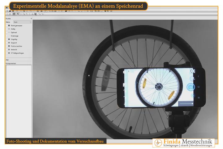 Dokumentation des Versuchsaufbaus wie Position und Lagerbedingungen des Rads und Ausrichtung des Laser-Vibrometer