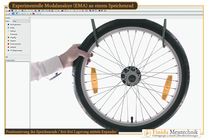 frei-frei-Lagerung eines Speichenrads mittels Expander für Modaltest als Dienstleistung