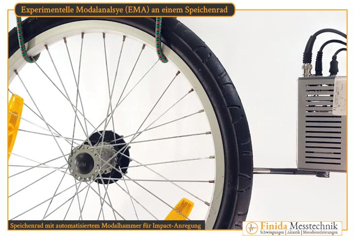 reproduzierbare Anregung des Speichenrads mit einem automatischem Impulshammer zur Vermeidung von Doppelschlägen bei der Modalanalyse und NVH-Aufgaben
