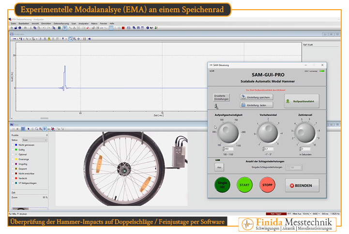 Überprüfung des Kraftsignals des Modalhammers auf Doppelschläge, um die Voraussetzungen für eine erfolgreiche Experimentelle Modalanalyse zu schaffen.