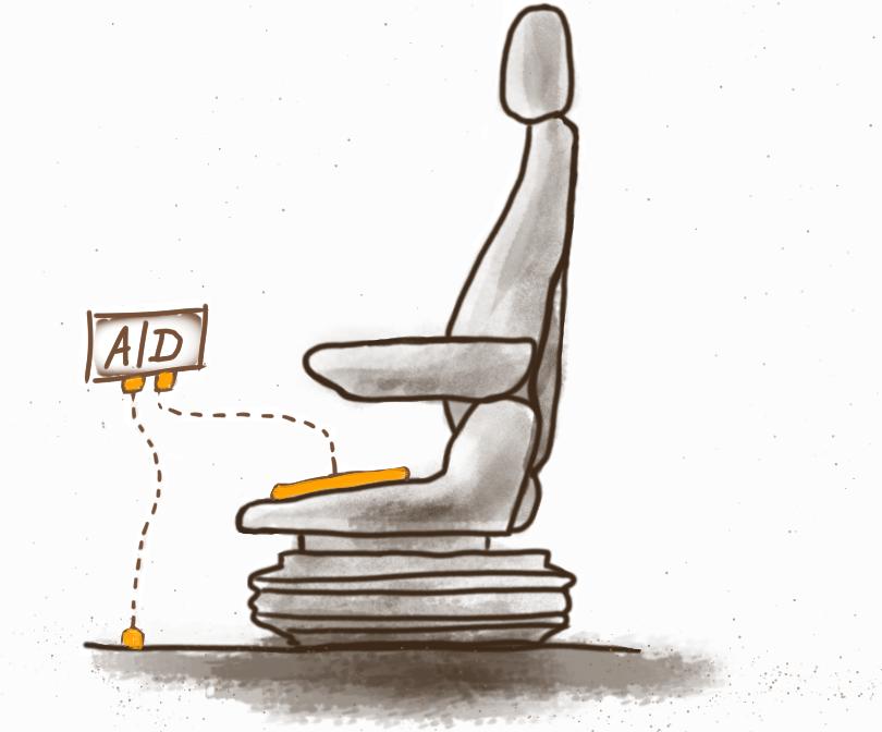 Sitz-Zeichnung zugeschnitten, grauer Hintergrund